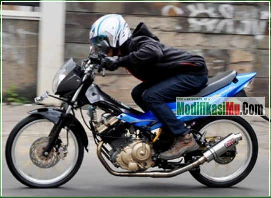 Hasil Video Cara Modifikasi Suzuki Satria F150 Stroke Up 200 cc Tampilan Simpel Sederhana Tapi Keren