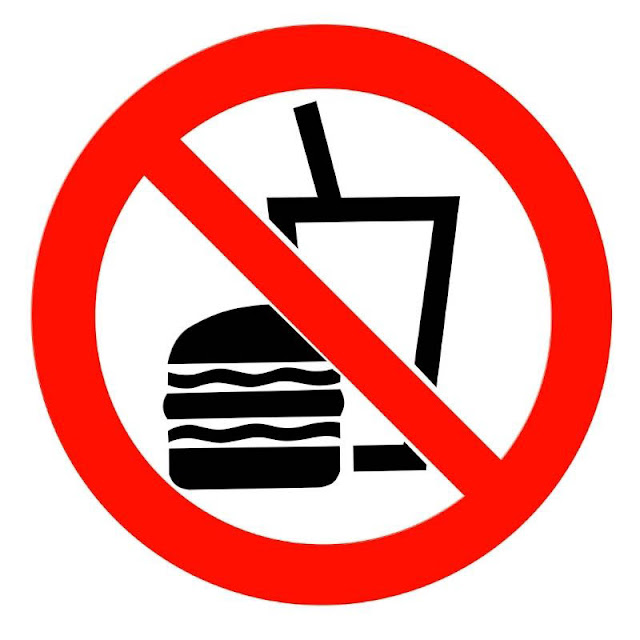 Hamburger and soda icon covered by a red circle with a slash through it