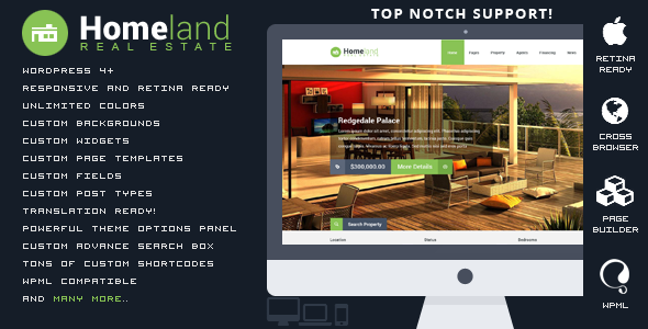 Homeland v2.4.0 – Responsive Real Estate WordPress Theme