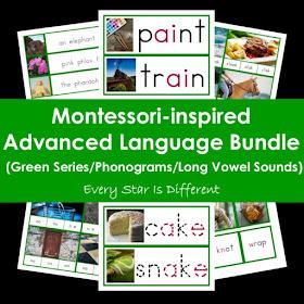 Montessori-inspired Advanced Language Bundle (Green Series/Phonograms/Long Vowel Sounds)