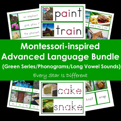 Montessori-inspired Advanced Language Bundle (Green Series/Phonograms/Long Vowel Sounds)