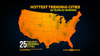The top 25 hottest and fastest-warming cities (Credit: climatecentral.org) Click to Enlarge.