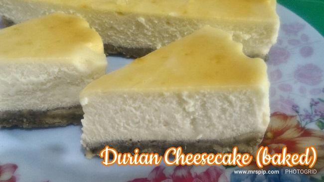 resipi simple durian cheese cake