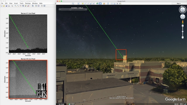 Image Attribute: The LASSOS display screen highlights the laser strike event in live sensor imagery on the left and generates a 3D model of the laser streak in Google Earth (right). / Courtesy of Lincoln Laboratory.