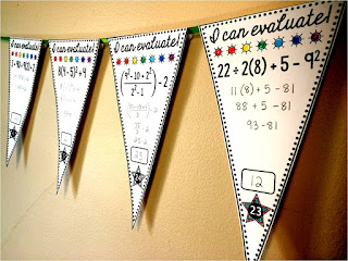 FREE Order of Operations Math pennant