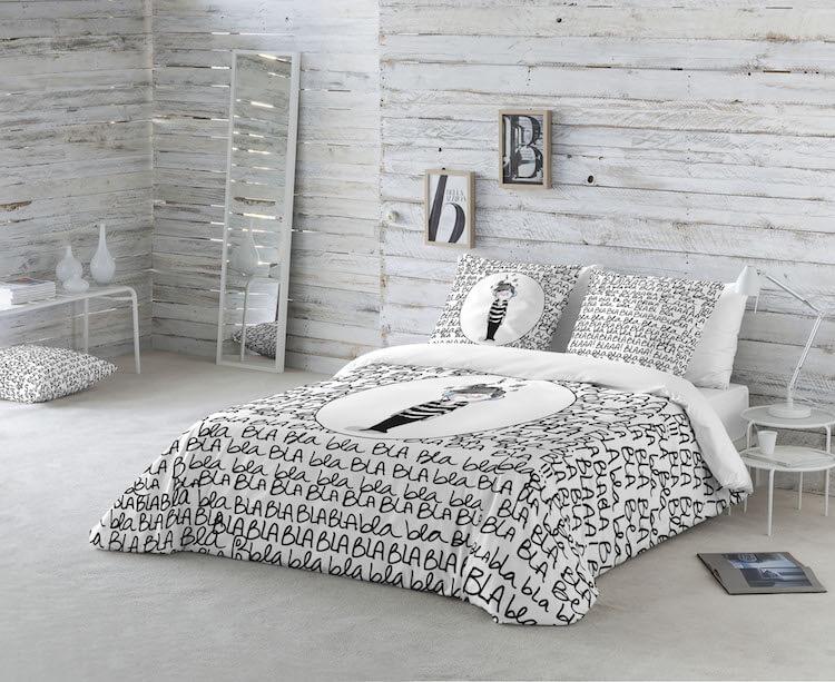 cama con funda nórdica blanca y negra
