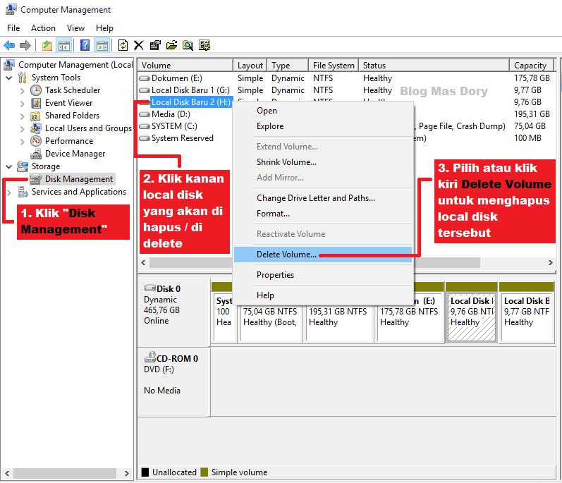 Computer management, pilih local disk yang ingin dihapus, Blog Mas Dory