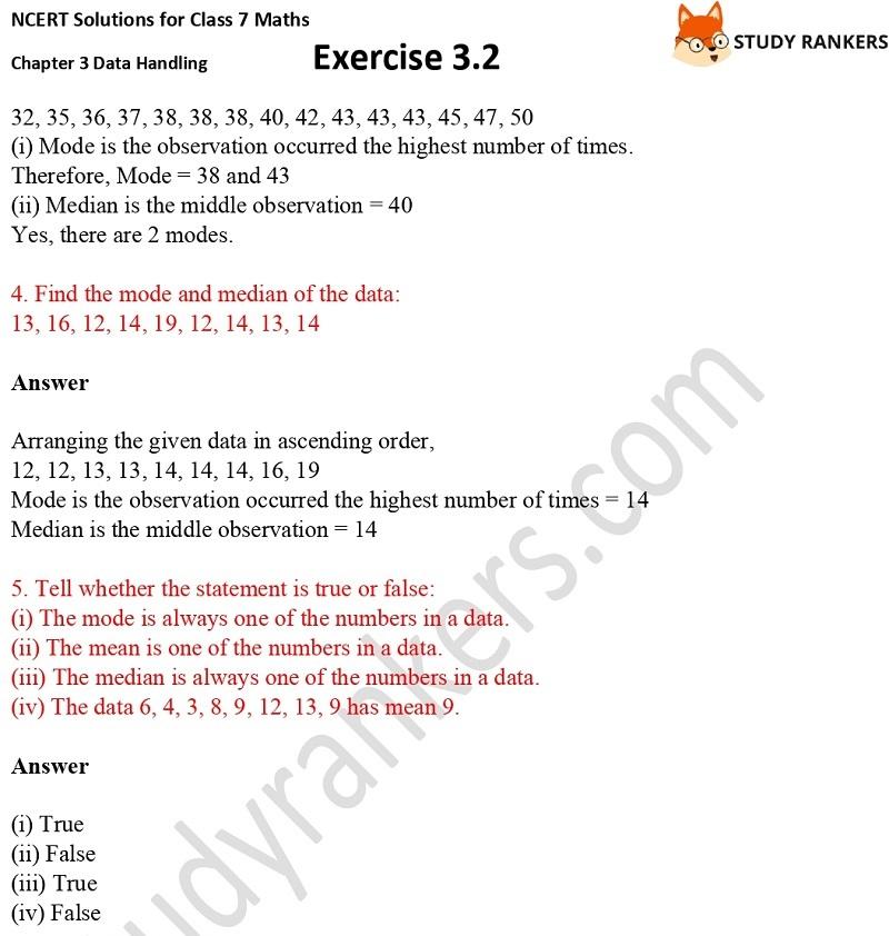 NCERT Solutions for Class 7 Maths Ch 3 Data Handling Exercise 3.2 2