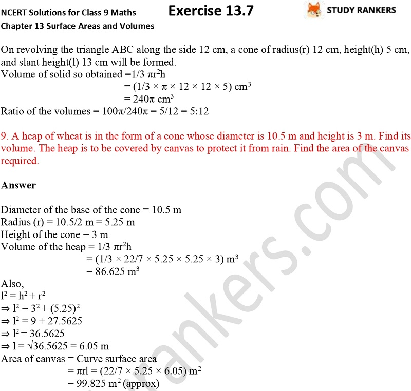 NCERT Solutions for Class 9 Maths Chapter 13 Surface Areas and Volumes Exercise 13.7 Part 4