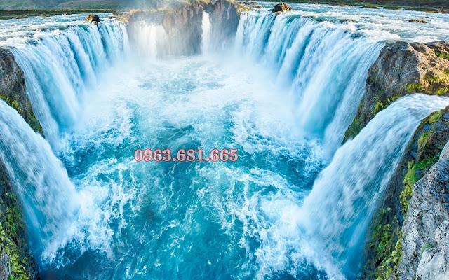 tranh kính thác nước