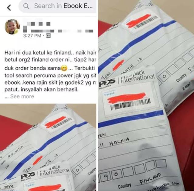 Contoh barangan Malaysia yang akan dihantar ke Findland melalui jualan di Ebay