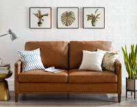 Beautiful Leather Crate and Barrel look a like Sofa