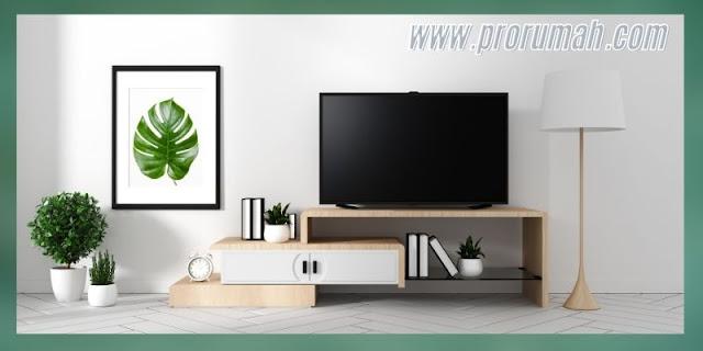 Ide Desain Ruang TV Terbaik 2021 - kombinasi putih dengan sentuhan alam