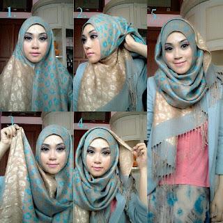 Foto Cara Memakai Jilbab Pashmina Sifon Elegan