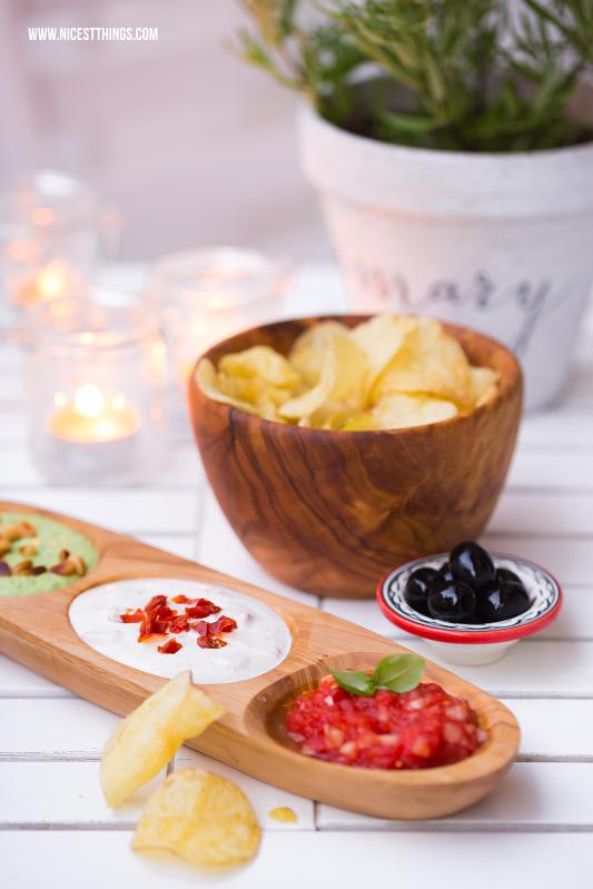 Italienischer Dip dreimal anders: Tomate Balsamico, Ziegenkäse Honig, Basilikum Feta