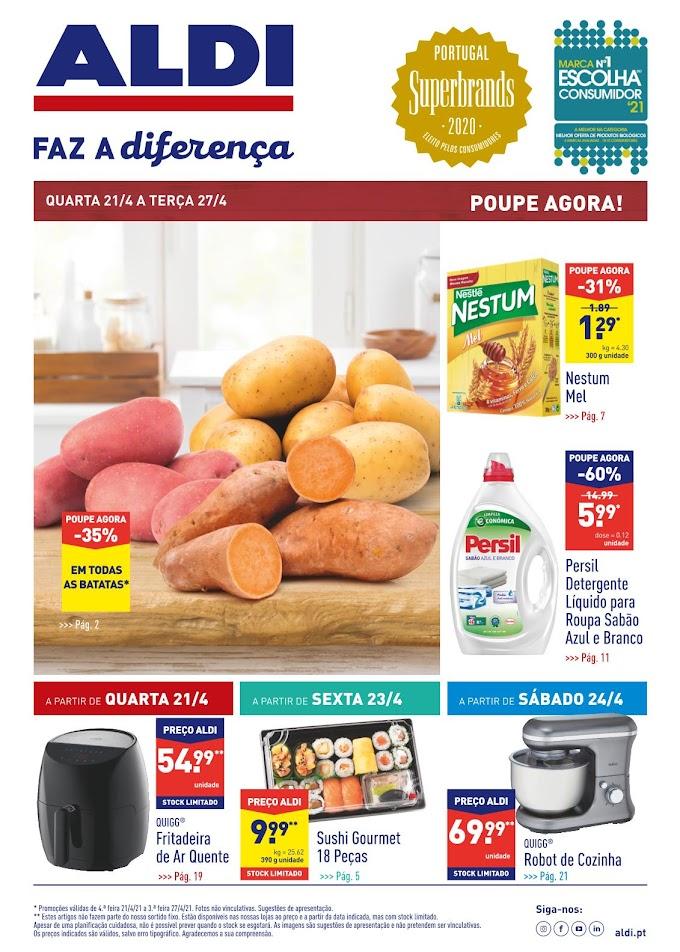 """Folheto ALDI - """"Aldi Faz a Diferença"""" com promoções de 21 a 27 de abril"""