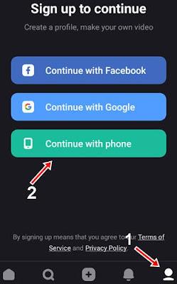Profile icon par click kar continue with phone par click kare