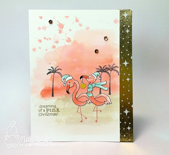 Pink Christmas Flamingo card by Naki Rager | Flirty Flamingos and Paradise Palms stamp sets by Newton's Nook Designs #newtonsnook