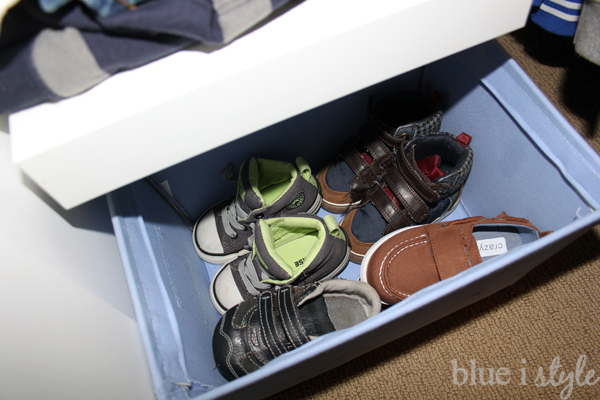 Organize little shoes in a basket