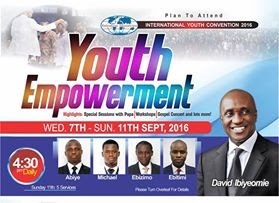 """Seest thou a man diligent in his business? he shall stand before kings; he shall not stand before mean men."" Proverbs 22:29. This is the time for 'Youth Empowerment.'   Join us this September in our ""International Youth Convention"" with the theme: YOUTH EMPOWERMENT.   Date: Wednesday 7th - Sunday 11th September, 2016   Venue: Salvation Ministries. Plot 17 Birabi Street, G.R.A. Phase1 Port Harcourt and All her satellite Churches.   Time: 4:30pm   Ministries:  Peistor David Ibiyeomie and other men of God   You can also watch online through www.smhos.org      For enquiries +234 84 466170, +234 80 33123 743    E-mail: info@smhos.org"