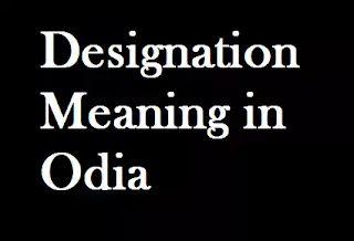 Designation Odia Meaning Designation Meaning in Oriya