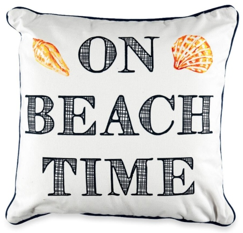 On Beach Time Quote Word Saying Pillow