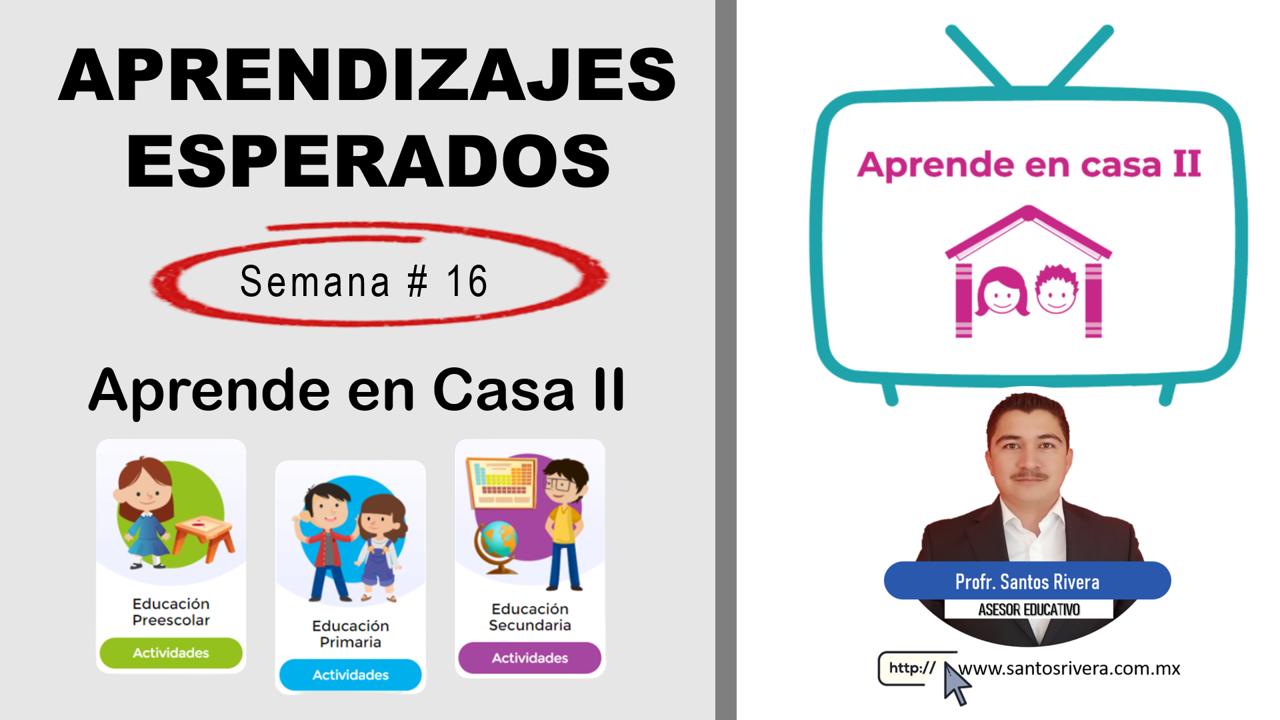 Aprendizajes Esperados Semana # 16 (del 7 al 11 de diciembre) de Aprende en Casa II