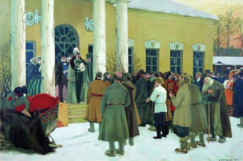 Крепостные собрались у дома помещика и слушают хозяина