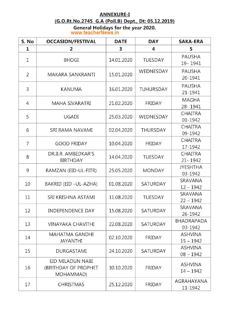 AP list of Holidays 2020 General / Oprional Holidays list 2020 in AP
