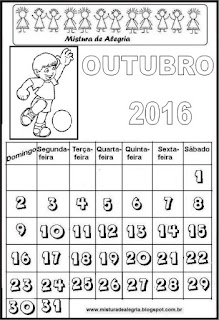 Calendário do mês de outubro/16