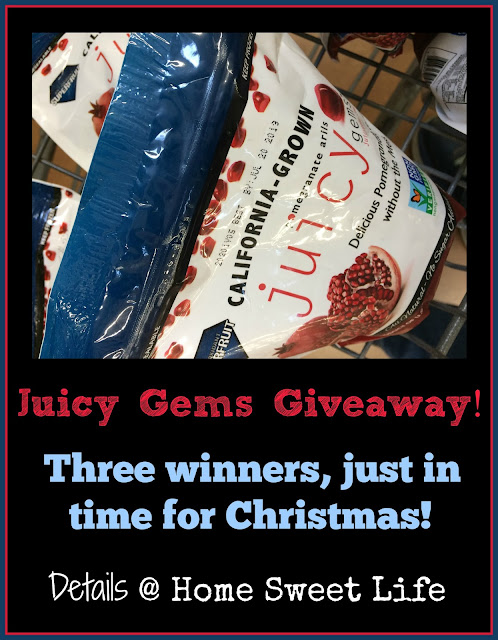 Christmas giveaways, Juicy Gems, Pomegranate arils