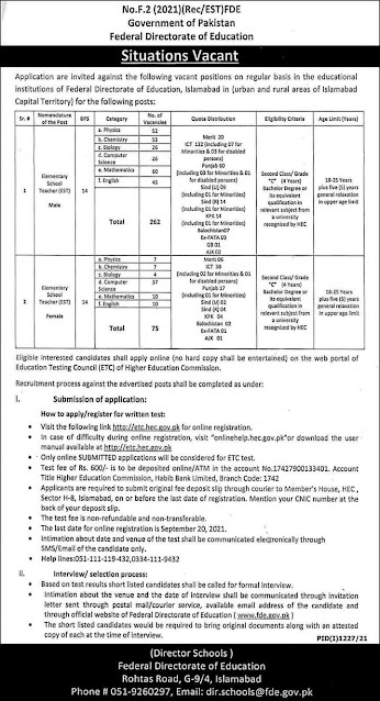 GOVERNMENT OF PAKISTAN  FEDERAL DIRECTORATE OF EDUCATION, ISLAMABAD JOBS | jobs | latest jobs | jobs near me| federal jobs 2021