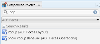 Popup component in Oracle ADF