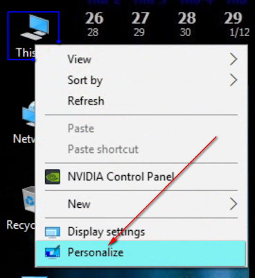 Chọn Personalize để vào cửa sổ System