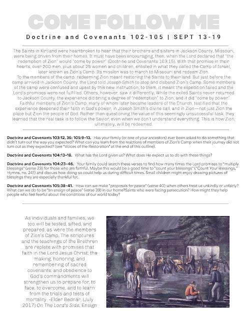 Printable Come Follow Me Study Sheet for September 13-19.