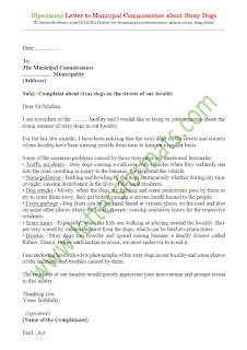 letter to municipal corporation regarding stray dogs