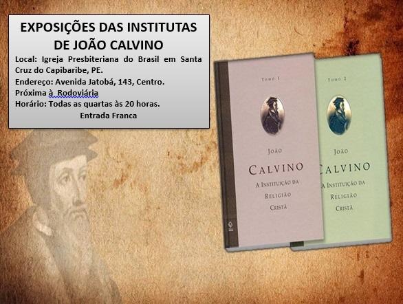 Convite para exposições das Institutas de Calvino
