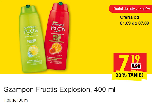 Szampon Fructis Explosion - Biedronka, promocja