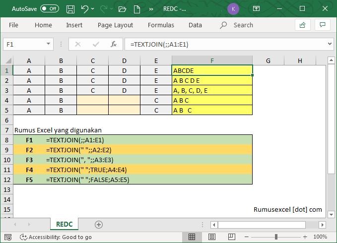 Fungsi Textjoin Cara Menggunakan Rumus Excel Textjoin