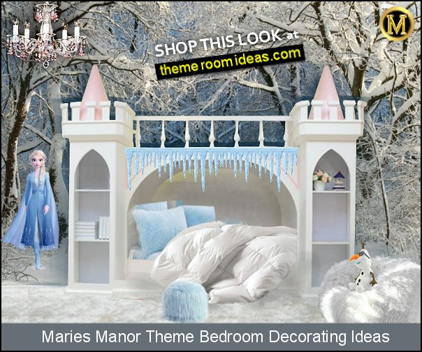 ELSA frozen castle bedroom furniture castle bed winter bedroom decorating frozen ice snow disney princess bedroom