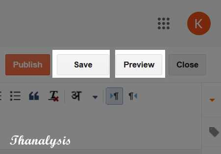 Save and Preview button in post editor - Thanalysis