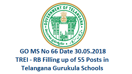 Telangana Residential Educational Institutions Recruitment Board TREI - RB 55 PGT TGT Posts Vacancies Details  Public Services – Recruitment – School Education Department - Filling up of fifty five (55) vacant posts in Telangana State Residential Educational Institutions Society (TSREIS) through Direct Recruitment – Permission to the Telangana Residential Educational Institutions Recruitment Board (TREI-RB) – Orders – Issued. go-no-66-fiiling-up-of-55-pgt-tgt-posts-ts-gurukala-tsreis-by-Telangana-residential-Educational-institutions-recruitment-board