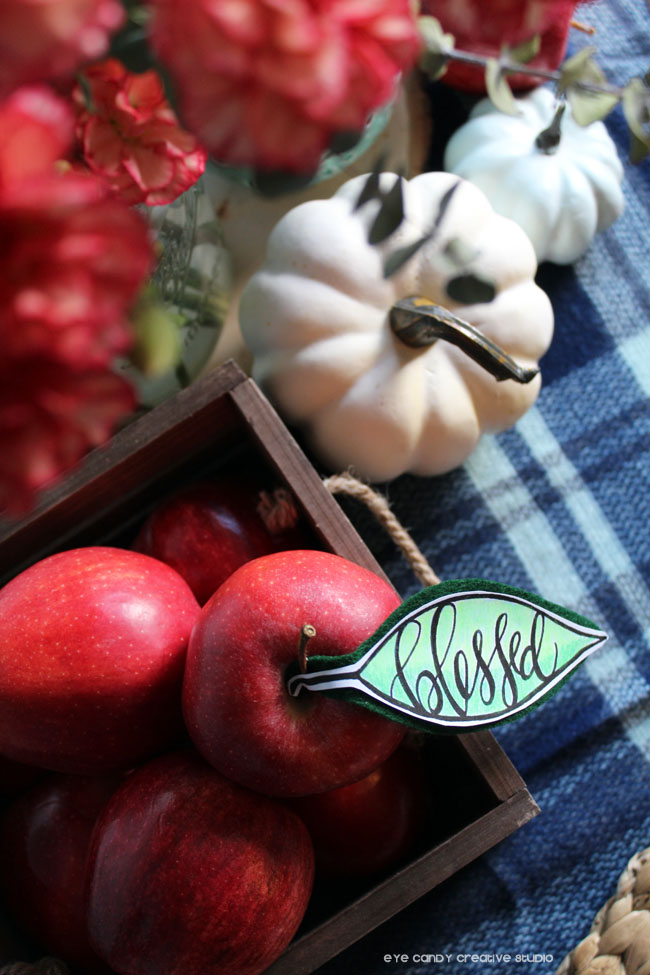 blessed, hand lettered decor, fall tablescape, apples, pumpkins, lettering