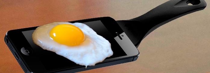 Яйце сварено между мобилни телефони