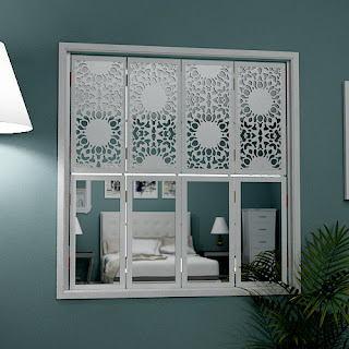 Tier on tier mirror window shutters with Nottingham Lace Mirrors