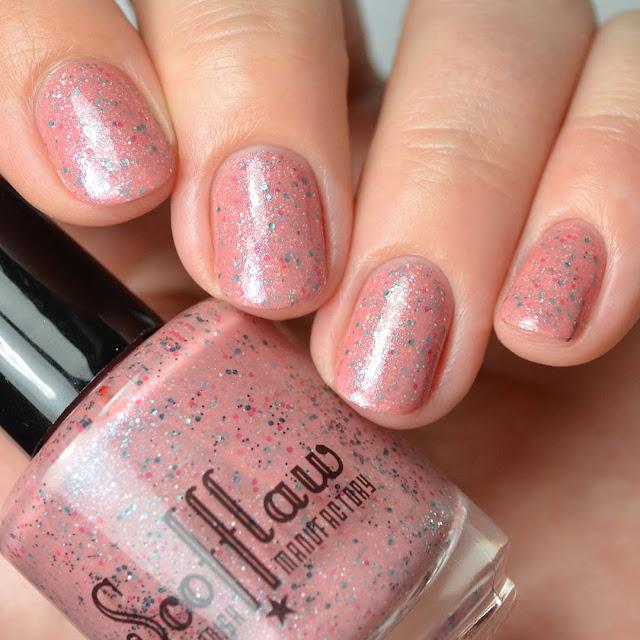 salmon glitter nail polish