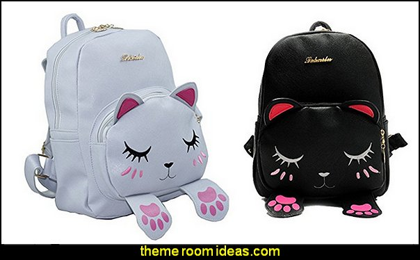 Backpack For Girls Cute Cat Design Fashion Leather Bag