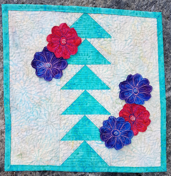 geese and flowers mini quilt   DevotedQuilter.com