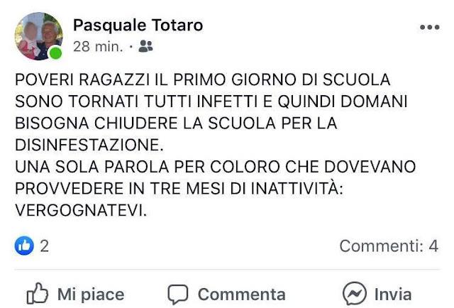 Monte Sant'Angelo, il 13 settembre riaprono le scuole e il 14 chiuse per disinfestazione. Un genitore rimprovera l'Amm.ne Comunale