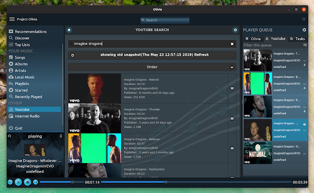 Olivia cloud music player for Linux